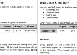 Binance's older white paper version vs. updated version