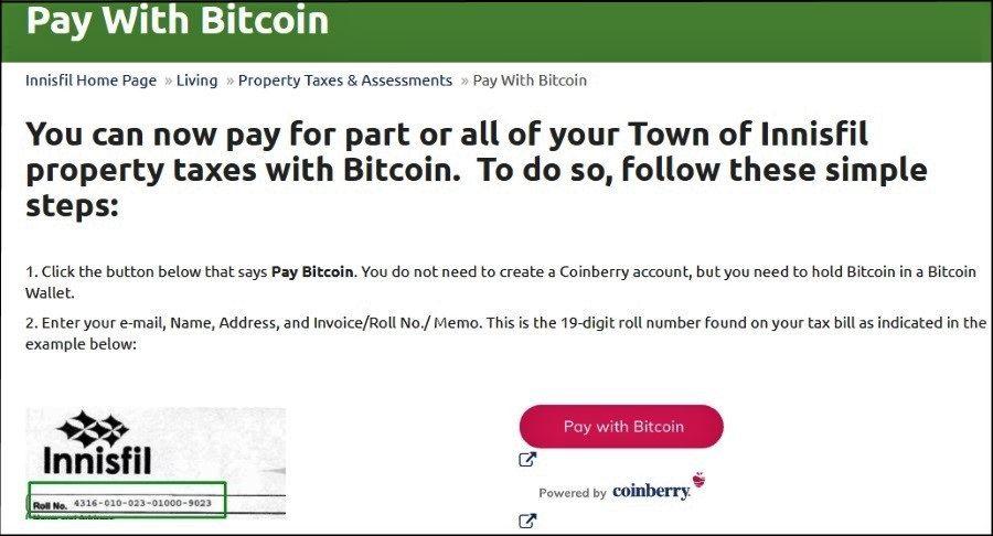 Innisfil propert taxes bitcoin