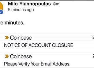 coinbase bans gay Jewish bitcoin fan Milo Yiannopoulos
