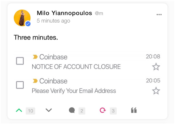 Screenshot of Yiannopoulos Gab post